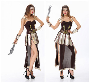 Wholesale Brave Roman Gladiator Costume Set Medieval Knight Halloween Women Warrior Dress Up Role Play Clothing Props Roman Soldier Dress