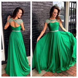 Wholesale Discount Emerald Green Prom Dresses Keyhole Neck Cap Sleeve Beaded Evening Dress Sexy Open Back Formal Dresses Long Holiday Juniors Prom uk