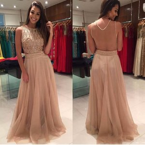 Wholesale Champagne Beaded Sexy Backless Prom Dresses Long Lace Beading Belt Sheer Formal Party Dress Evening Gowns