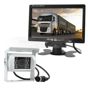 7inch TFT LCD Car Monitor + White 4pin IR Night Vision CCD Rear View Camera for Bus Houseboat Truck