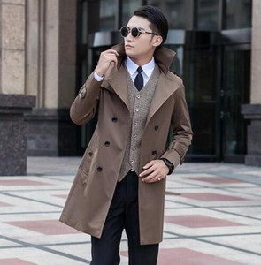 2017 new arrival autumn spring slim sexy long trench coat men double-breasted outerwear mens trench coat clothing belt S - 9XL