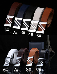 Wholesale hot sale Men s smooth buckle belt Word motherboard buckle pu trouser belt colors woman fashion Leather belt drop shipping