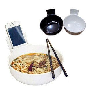Creative Bowl with Cell Phone Holder for Mobile Phone Users White Black Melamine Bowl 2L Large Size Ramen Bowls Tableware ZA2668