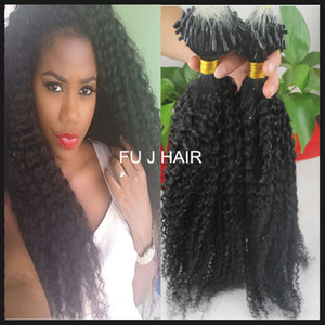 JUFA Micro Loop Ring Hmuan Hair Extensions Wholesale Natural Black Unprocessed Brazilian Afro Kinky Curly Virgin Hair 100s 100g on Sale