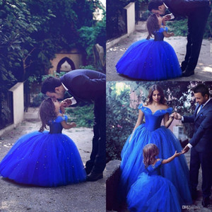 Wholesale Royal Blue Infant Toddler Pageant Dresses Off shoulder Short Sleeves Girl Birthday Party Dress Ball Gown Little Flower Girls Wear