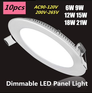 Dimmable 6W 9W 12W 15W 18W 21W CREE Led Recessed Downlights Lamp Warm Natural Cool White Super-Thin Led Panel Lights Round