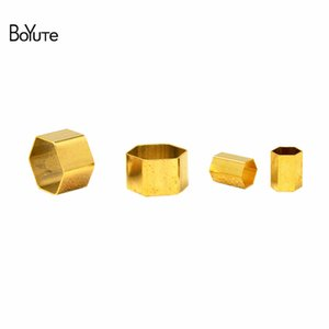 Wholesale BoYuTe Sizes Metal Copper Hexagon Tube Beads Diy Jewelry Accessories Parts for Jewelry Making