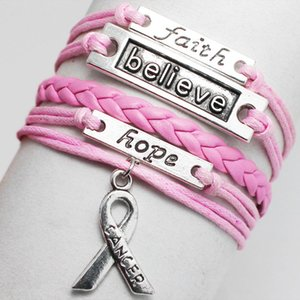 Angel Wings Double Love Owl Faith Believe Hope Charm Bracelet Vintage Pink White Brown Multilayer Braided Leather Bracelet
