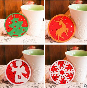 Wholesale DHL Christmas Coaster Christmas Decor Cartoon Coasters for Mugs Cups Heat Insulation Christmas Trees Snowflake Deer Angle Snowman Hot Sale