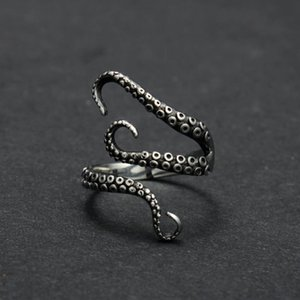 Wholesale New Fashion Unisex Retro Adjustable Silver Plated Ocean Octopus Tentacles Finger Open Ring Jewelry