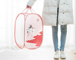 Wholesale Housekeeping Foldable Clothes Storage Baskets Mesh Washing Dirty Clothes Laundry Basket Portable Underwear Sundries Organizer Toys Container