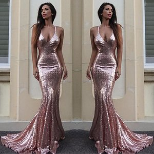 Rose Gold Sequin Mermaid Evening Dresses Sparkle V Neck Spaghetti Straps Backless Silver Prom Dresses Gold Evening Gowns Criss Cross Back on Sale