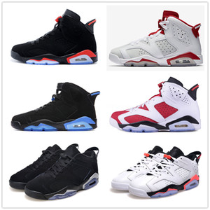 Wholesale 6 carmine basketball shoes Classic 6s UNC black blue white infrared low chrome women men sport blue red oreo alternate Oreo black cat