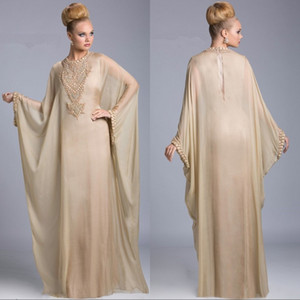 Wholesale 2020 New Luxury Champagne Dubai Islamic Kaftan Evening Dresses Chiffon Crystal Arabic Long Sleeves Beaded Sweep Train Prom Dress Party Gowns