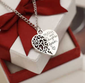 Jewelry Moms Gift Necklaces Heart Shape Mother & Daughter Forever Love Pendant Necklaces In Silver Gold Mothers Gifts