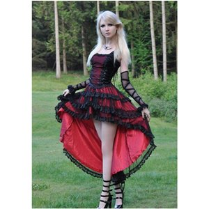 Wholesale Gothic Prom Dresses Girls High Low Red and Black Lace Tulle Satin Straps Short Front Long Back Party Gowns Custom Size