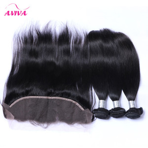 Ear to Ear Lace Frontal Closures With 3 Bundles Virgin Brazilian Straight Hair 8A Grade Peruvian Indian Malaysian Human Hair Weaves Closure