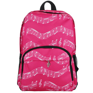 Durable Music Notes Pattern Packpack Double Shoulder Racksacks Pink Bags Best Christmas Gifts For Girls