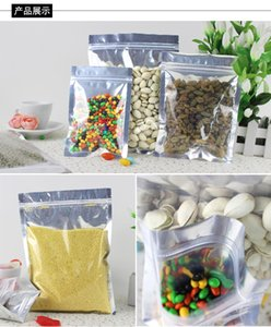 Wholesale 100pcs Aluminized Pouch flat bottom aluminum foil PE Food grade Moisture proof ziplock bag For Beans coffee rice candy tea ckear silver