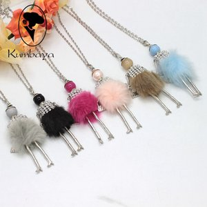Hot Sale! Cute Girl Fur Dress Dancing Doll Necklace Long Winter Coat Chain Necklace Girl Women Jewelry Christmas Gifts Jewelry NS417