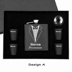 personalized 6 oz stainless steel black hip flask with 4 cups and funnel