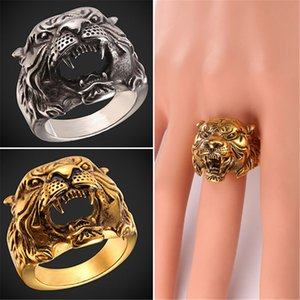 Wholesale U7 New Hot Punk Tiger Head Ring Punk Rock Jewelry Gold Plated Stainless Steel Men Fashion Hiphop Biker Cocktail Rings Anillos GR2466