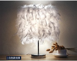 Feather table lamp bedroom bedside lamp simple modern romantic creative European Princess marriage room warm warm warm bedside lamp on Sale