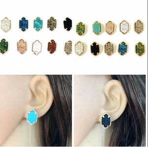 Wholesale Fashion Druzy Drusy Square stud Earring Colors Gold silver Plated natural stone drusy Ear Stud for Women Girls Jewelry