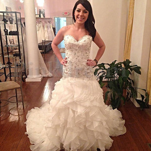 Wholesale New Sweetheart Mermaid Wedding Dress Cascading Ruffles Crystail Beading Long Train Wedding Dresses