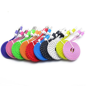 Wholesale 1M M M Colorful Flat Braided Cables Type C USB Data Line Sync Charger Weave Noodle Cable Adapter Cables for Samsung s7 edge s8