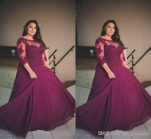 Plus Size Burgundy Prom Dresses Lace Applique Half Long Sleeve Evening Gowns Sheer Neck Chiffon A Line Formal Party Dresses Custom Made