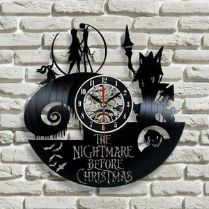 Wholesale 2017 New Vinyl Record Wall Clock Nightmare Before Christmas Jack and Sally Class,Christmas gift for friend,ock wall modern decor