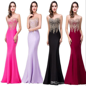 Wholesale Robe De Soiree 11 Colors Cheap Sexy Mermaid Prom Dresses 2019 Sheer Jewel Neck Appliques Sleeveless Long Formal Evening Dresses CPS262