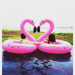 Wholesale 120cm Inflatable Flamingo swimming ring Thickening PVC life buoy Flamingo Floating Bed Raft Air Mattress Summer Water supplies XT