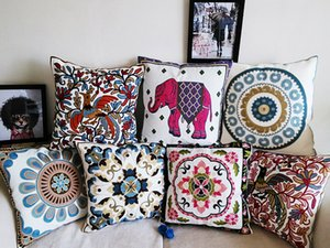 Wholesale 24 Styles Embroidery Cushions Covers 100% High-grade Cotton Cushion Cover Embroidered Bohemian Floral Flowers Birds Elephant Pillow Case