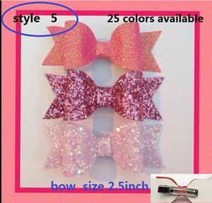 Wholesale 5style available inch Glitter Sequin Bowknot baby girls hair bow Bobble Hairpins Bowknot Spring hair clip Hair Accessories