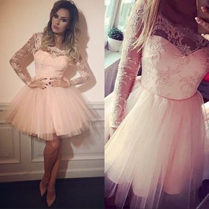 Wholesale Pink Blush Lace Short Prom Dresses Long Sleeves Arabic Style Tulle Knee Length Cheap Homecoming Dress Plus Size Formal Party Gowns