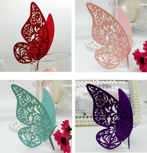 Wholesale table glasses for wedding resale online - Laser Cut Cute Hollow Butterfly Paper Place Card Escort Card Cup Card Wine Glass Cards Paper carve name and date for Wedding Decorations