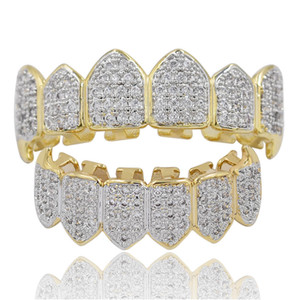 Wholesale white gold grills resale online - Hip Hop Iced Out CZ Mouth Teeth Grillz Caps Top Bottom Grill Set Men Women Vampire Grills