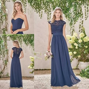 Wholesale navy blue chiffon lace jacket for sale - Group buy 2017 New Cheap Navy Blue Bridesmaid Dresses Sexy Long Navy Blue Chiffon Lace Summer Plus Size Wedding Party Maid Of Honor Gowns With Jacket