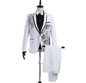 пром костюмы оптовых-Jacket Pants New White Paillette Flower Stage Show Chorus Man s Suit Moderator Clothing Mens Prom Suits