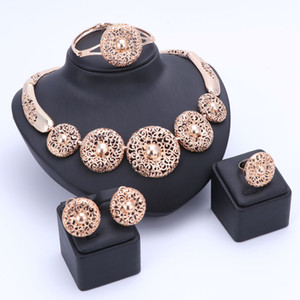 OUHE Nigerian Beads Wedding Jewelry Set Bridal Dubai Gold Plated Necklace Earring Ring Jewelry Sets African Beads Jewelry Set