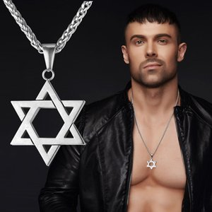 Wholesale U7 Star of David Magen Pendant Necklace Jewish Jewelry Women Men Chain K Gold Black Gun Plated Stainless Steel Israel Necklace Gifts