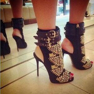 2017 New Fashion Brand High Heel Women Sandals Gold Rhinestone Open-toe Sexy Black Ankle-Wrap Sandal Designer Slingback Boots Heel 12cm