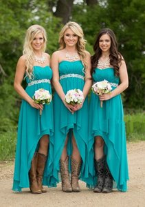 Wholesale Cheap Country High Low Bridesmaid Dresses Strapless Turquoise Chiffon Junior Bridesmaid Dresses Beaded Sash Maid Of Honor Boho Beach Gowns