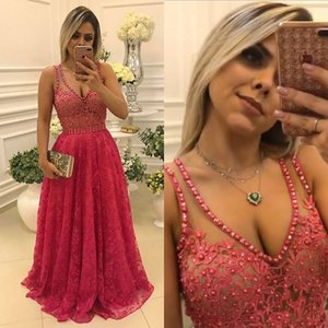 Wholesale Sexy Long Red Lace Prom Dresses 2017 Sheer V Neck Applique Pearls Sexy Backless Formal Dress Cheap Evening Party Gowns