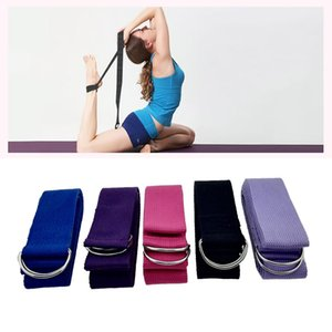 Wholesale 185cm 5 Color sports yoga Leg Slimming Belt Fitness Exercise strap Gym body building belt Yoga Stretch Strap D-Ring Belt