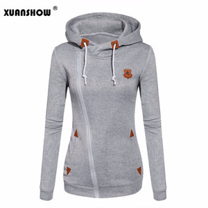 Wholesale- 2017 Womens Fashion Fleeces Sweatshirts Ladies Hooded Candy Colors Solid Sweatshirt Long Sleeve Zip Up Clothing Sudaderas Mujer