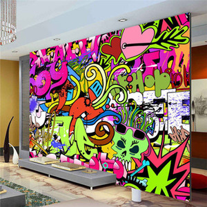 Wholesale Graffiti Boys Urban Art Photo Wallpaper Custom Wall Mural Street culture Wallpaper wall art Bedroom Hallway Kids Room Decor