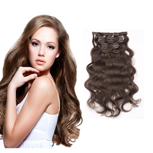 Women Fashion Sexy Long Curly Clip In Human Hair Extensions 16-26inch 7pcs set 16clips Brown Blonde Optional 100% Real Human Hair Extensions on Sale